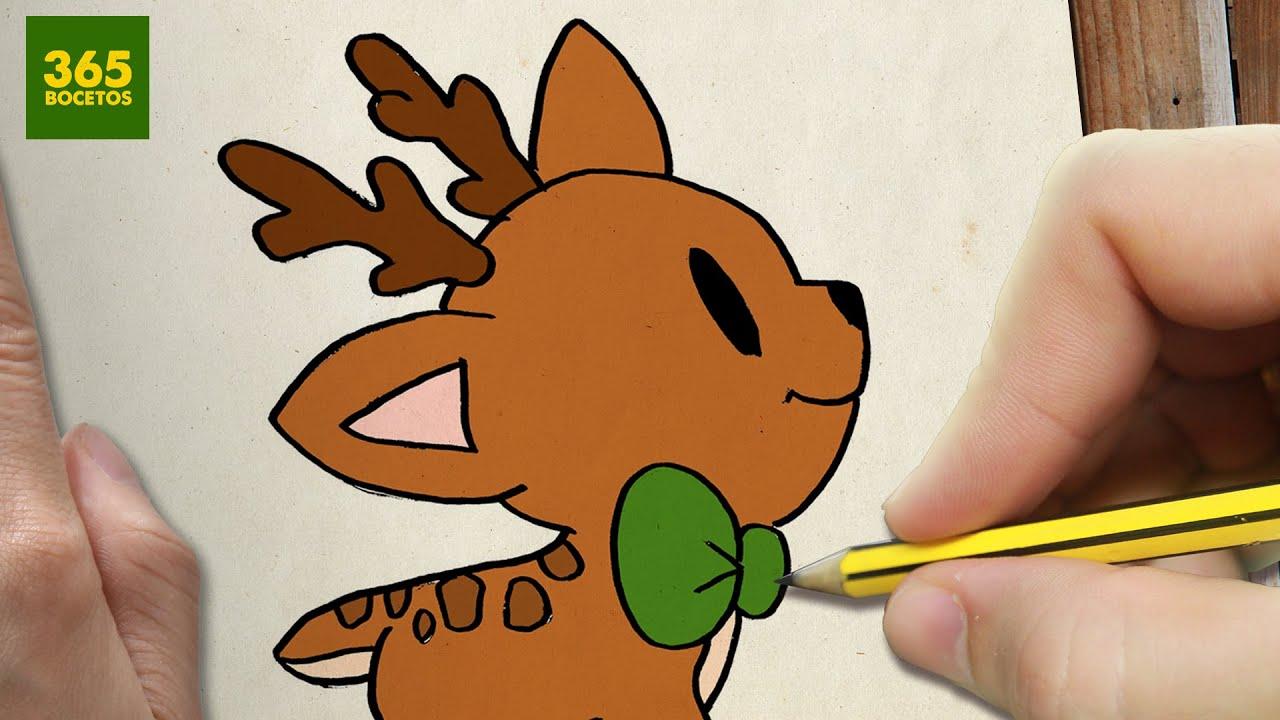 COMO DIBUJAR UN CIERVO PARA NAVIDAD PASO A PASO: Dibujos Kawaii Navideños