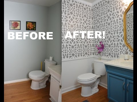 My Colorful Small Gray Bathroom Makeover With Stencils! - ThriftDiving