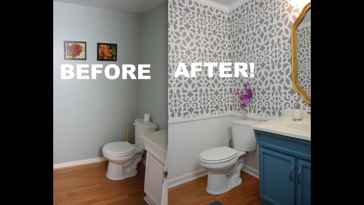 My colorful small gray bathroom makeover with stencils for Bathroom wall mural