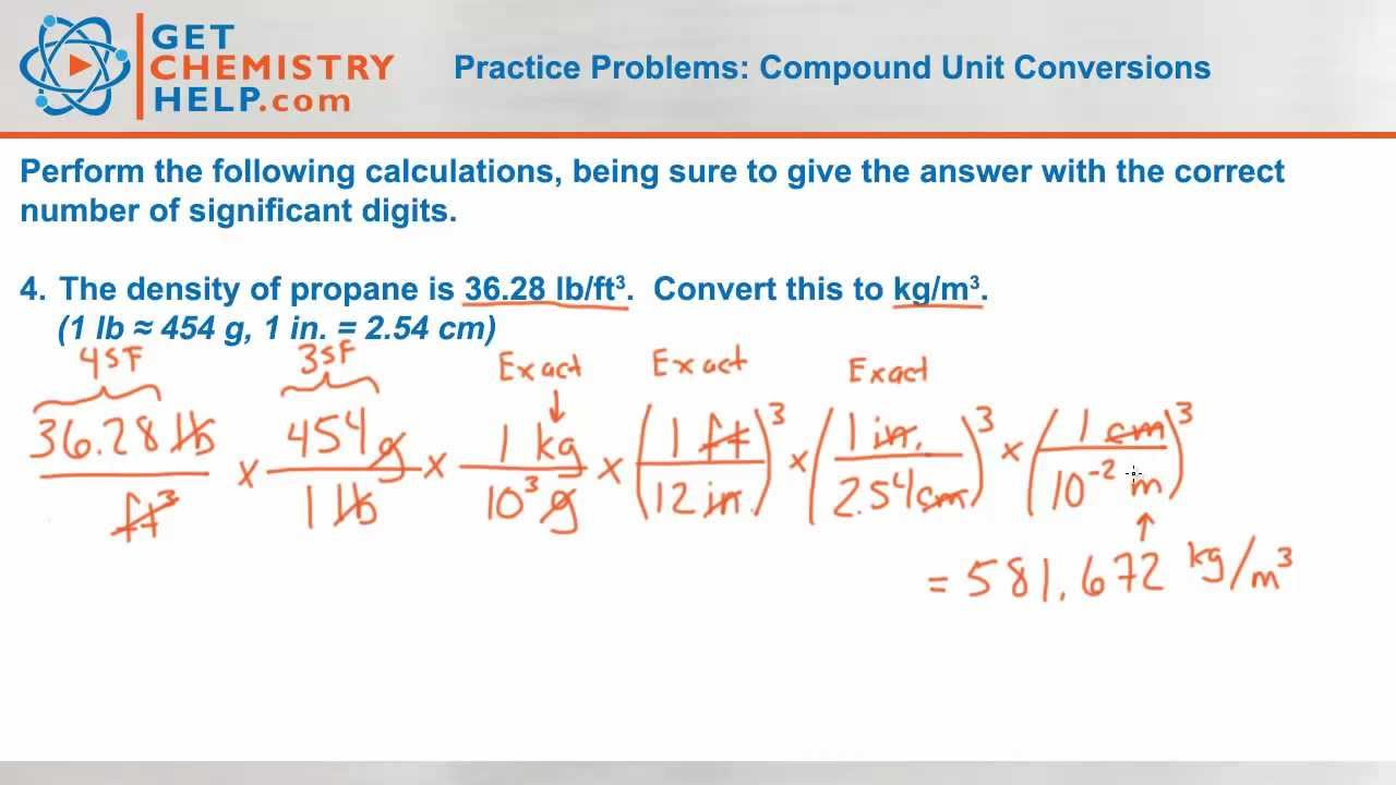 Chemistry Practice Problems: Compound Unit Conversions