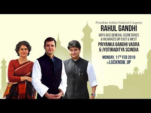 LIVE: CP Rahul Gandhi, Priyanka Gandhi Vadra and Jyotiraditya Scindia hold a Road show in Lucknow