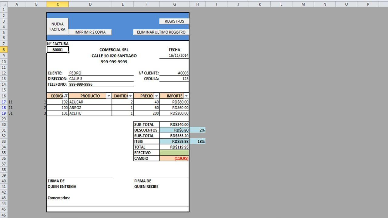 Como hacer una factura automática con macros en Excel. Parte 1 ...