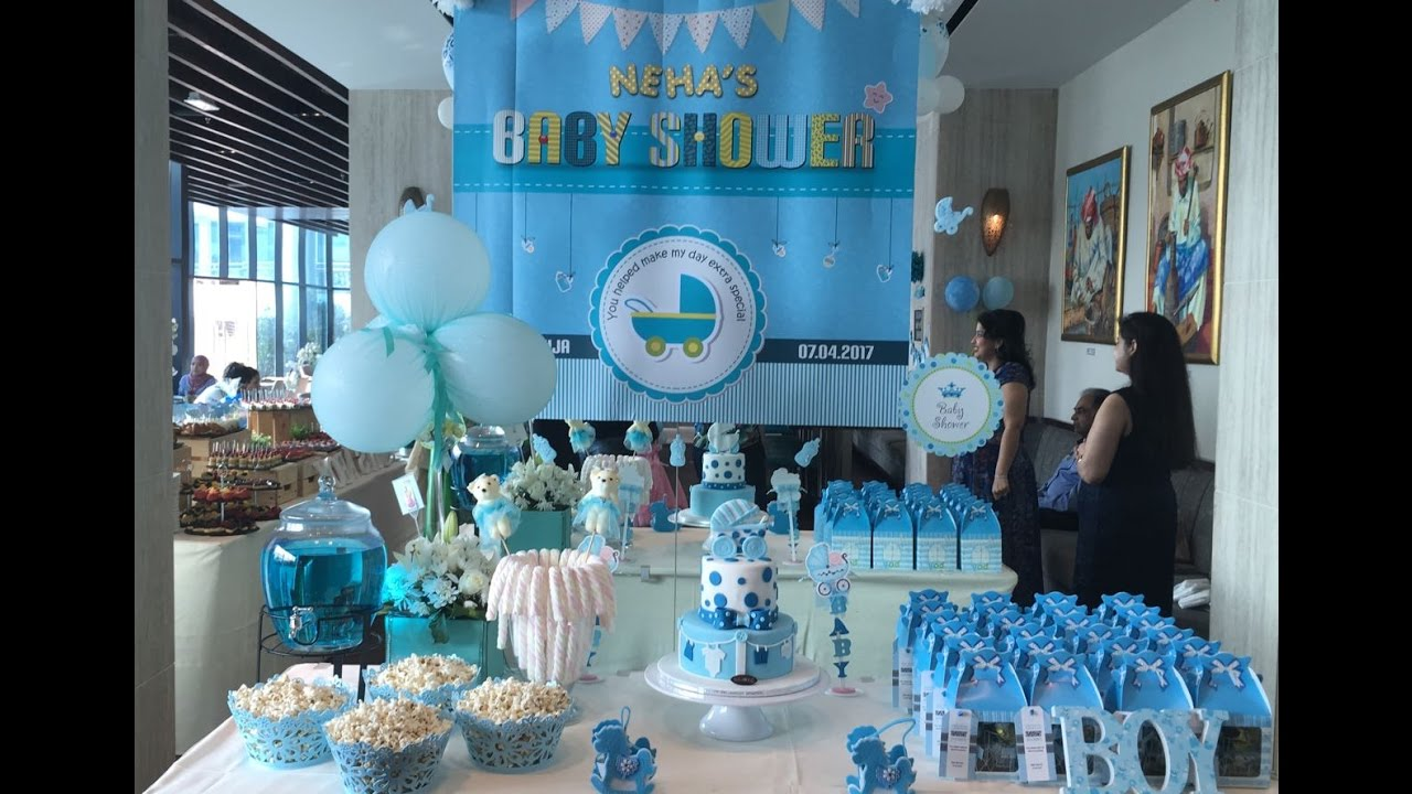 Outdoor birthday party venue decor customized to baby for Baby shower hall decoration