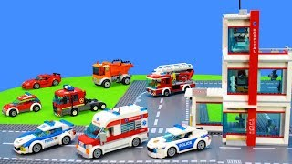Lego City Cars Unboxing For Kids: Fire Engine, Police Trucks, Excavator, Emergency Vehicle Toys