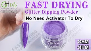 Purple Color Shiny Shimmer Nail by Fast Drying Glitter Dip Powder