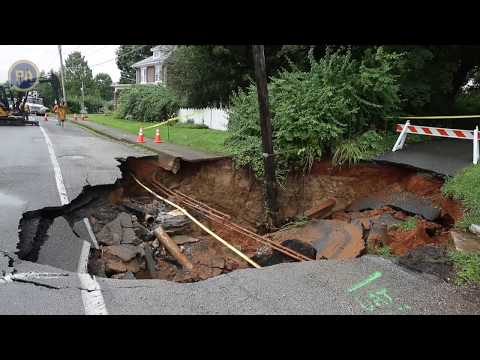 Giant sinkhole closes road in Pennsylvania town