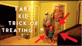 FAKE KID TRICK OR TREATING PRANK ! | GONE WRONG ! ! ( GOT CAUGHT)