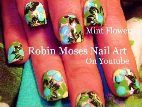 Mint Green Flower Nails Cute Print Nail Art Design Tutorial Youtube