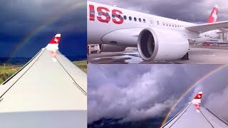 Swiss Airbus A220-300 Turbulent Approach into Zürich during Storm Eberhard