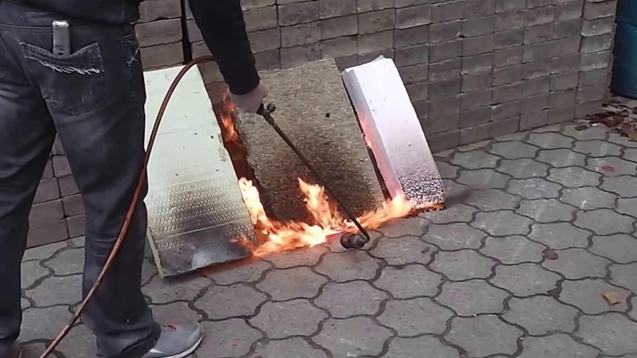 brandtest von fassadendämmung: mineralwolle vs hanf vs polystyrol
