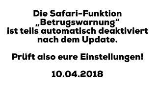 001: iOS 11.3 - Safari's Betrugswarnung