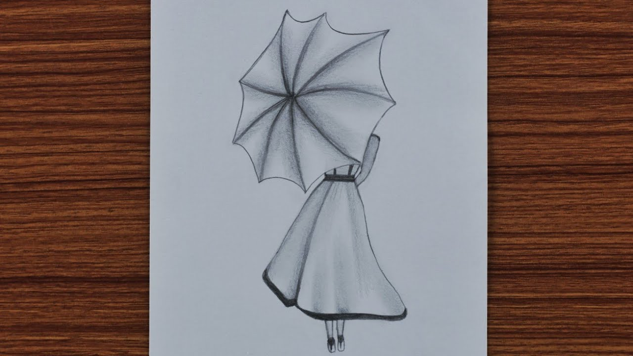 Easy Pencil Drawing For Beginners A Girl With Umbrella Step By Step Youtube