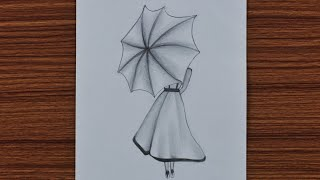 pencil beginners easy drawing umbrella step