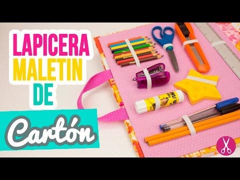 Lapicera / Estuche Maletín de Cartón   ✐ Manualidades Regreso a Clases ✄   Cartonaje Catwalk ❤