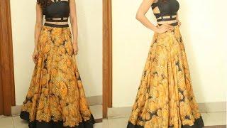 Anarkali long skirt DIY | Anarkali skirt drafting, cutting and stitching step by step tutorial