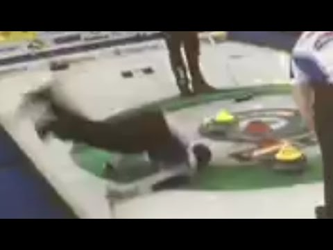 Brad Gushue Falls on the Ice (the angle they stopped showing)