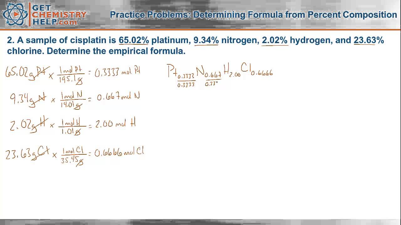 chemistry practice problems determining formula from percent  chemistry practice problems determining formula from percent composition getchemistryhelp