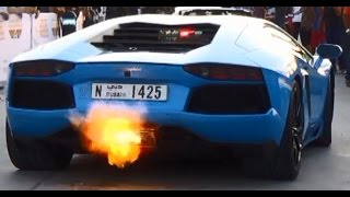 Lamborghini Aventador Sound and Flames @ Dubai Grand Parade 2014