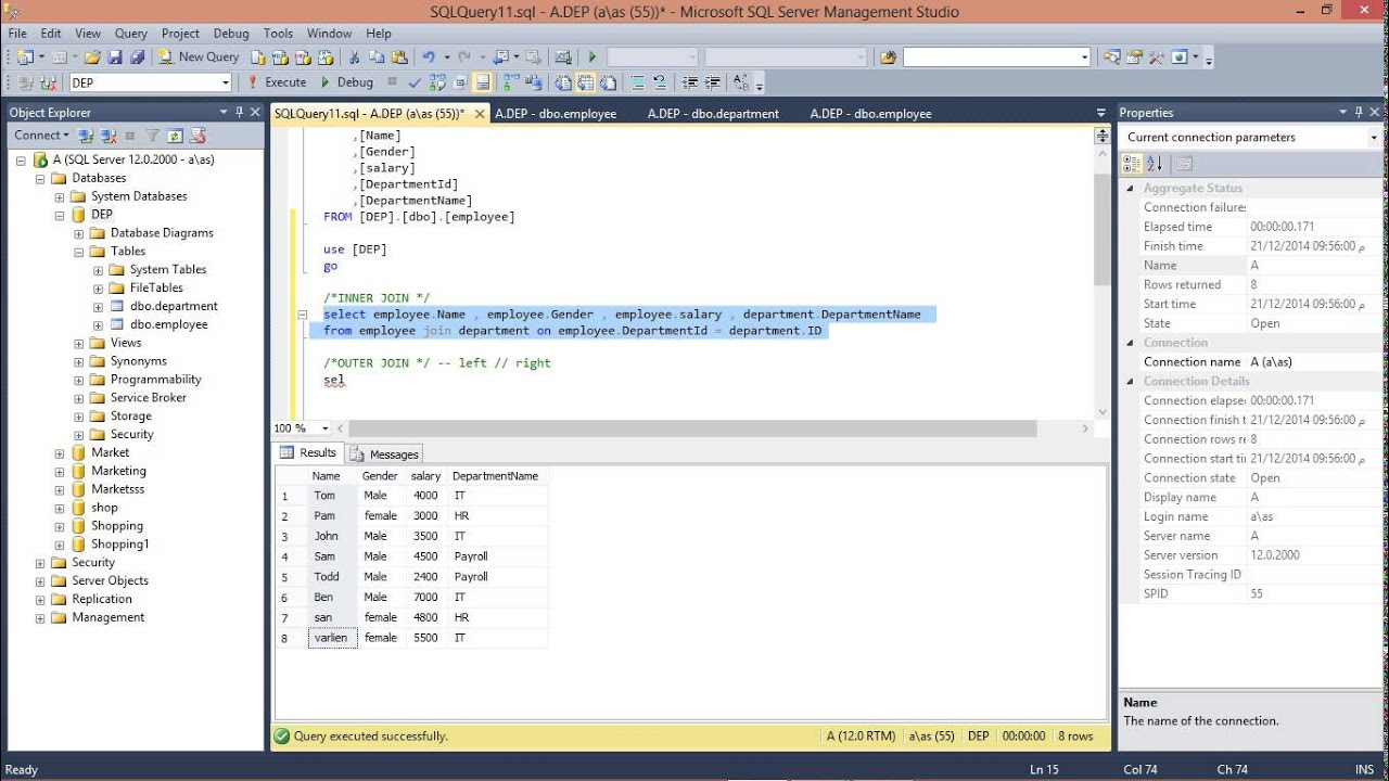 3 sql server join tables together youtube - How to merge two tables in sql ...