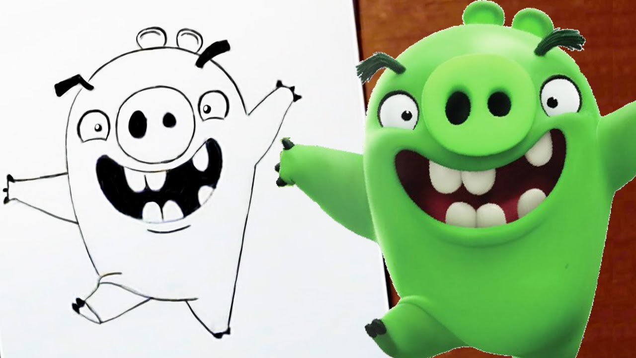 Drawing Angry Birds Movie: How To Draw MINION PIG ANGRY BIRDS MOVIE