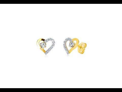 57ac322e3 Šperky - Náušnice z kombinovaného zlata 585 - srdiečko so zirkónovou líniou  a číry zirkón