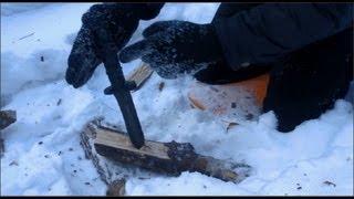 Зимний тест ножа выживания НВ-1-01(Тестирование ножа выживания НВ-1-01 от завода Ижмаш в зимнем лесу. Нож Мора Крафтсмен 612: https://www.youtube.com/watch?v=0hwdsz..., 2013-03-02T14:51:38.000Z)