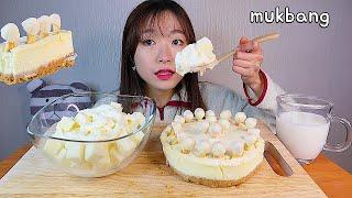 MUKBANG 치즈케이크와 필라델피아 큐브를 그릭요거트에 듬뿍 디저트 먹방 PHILADELPHIA CHEESE CAKE WITH YOGURT Dessert asmr チーズケーキ