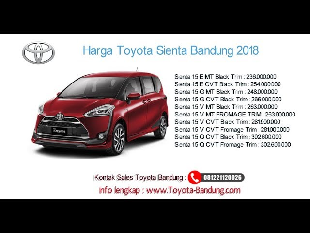 Harga Toyota Sienta 2018 Bandung dan Jawa Barat | 081221120026