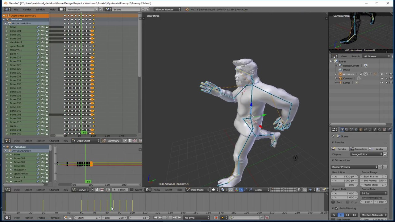 Animating Your Character In Blender For Use In Unity For Game Design - Game design software