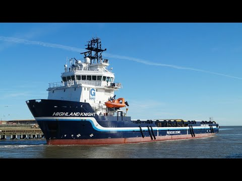 Offshore supply vessel HIGHLAND KNIGHT departing Great Yarmouth 25/10/17