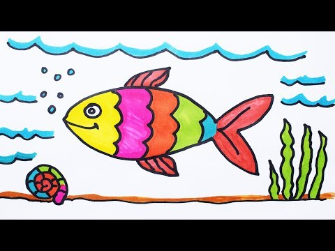 How To Draw Fish And Coloring Fish Under Water For Kids   How To Color A Boat On Sea