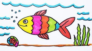 How to Draw Fish and Coloring Fish under Water for Kids | How to Color a Boat on Sea