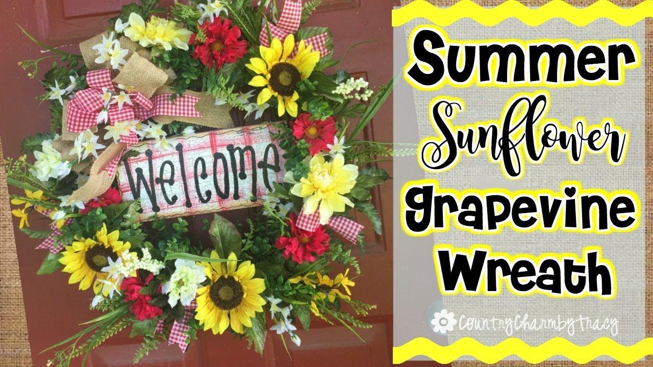 Summer Sunflower Grapevine Wreath Door Easy Diy