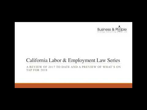 A Review of 2017 Employment and Labor Laws and Whats On Tap for 2018