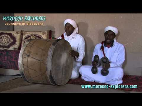 Gnaoua [Gnawa] traditional instruments and singing  mystical songs - Morocco