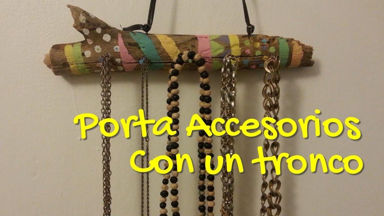 Porta accesorios con un tronco manualidades para el for Adornos para el hogar