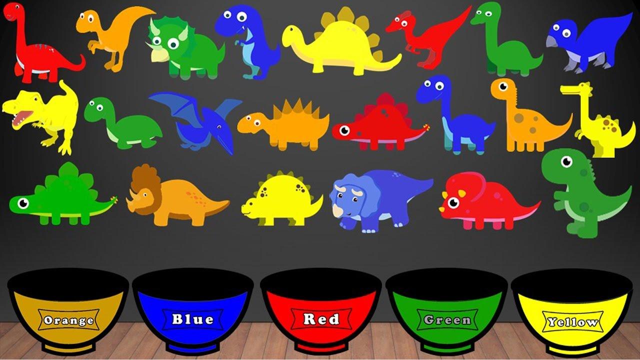 Dinosaur Colors Song Color Sorting For Kids Educational Video Kindergarten Preschool Game
