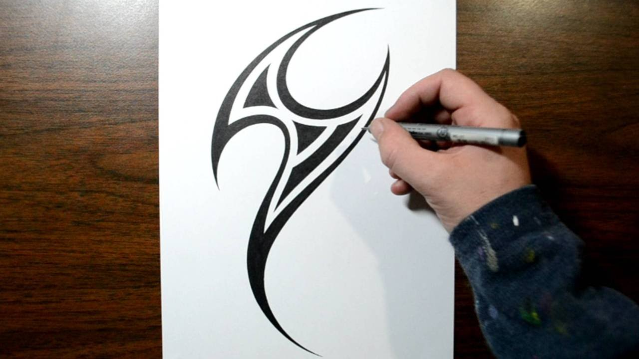 26800a24e Drawing a Simple Tribal Mark Tattoo Design - YouTube