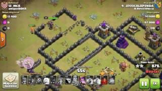 Clash Of Clans - PT Em Cv9 Utilizando Golem, Magos, Valquírias, e Queen Walk