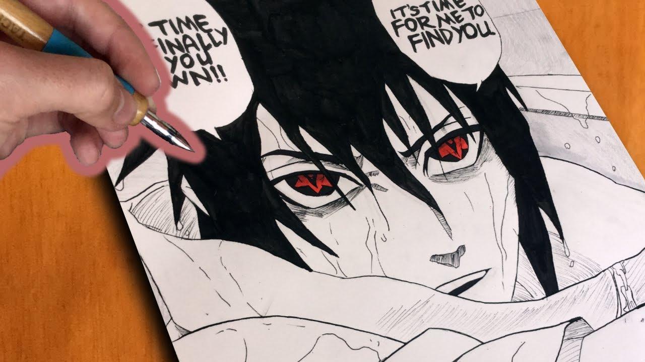 Manga Style Drawing Sasuke Uchiha Mangekyo Sharingan Youtube