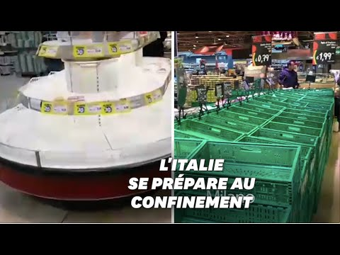 En Italie, les rayons des supermarchés vidés à cause du coronavirus