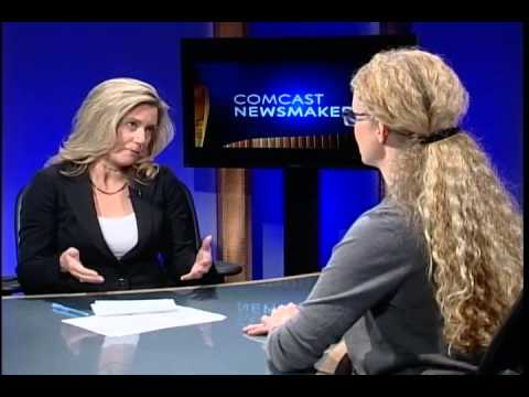 "Julie Mushet is interviewed on Comcast ""Newsmakers"" TV about this year's Ethnic Dance Festival"
