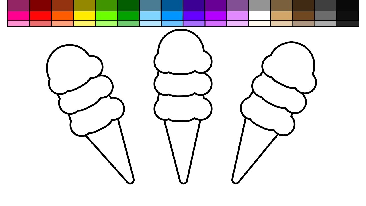 learn colors for kids and color triple ice cream triple cone with