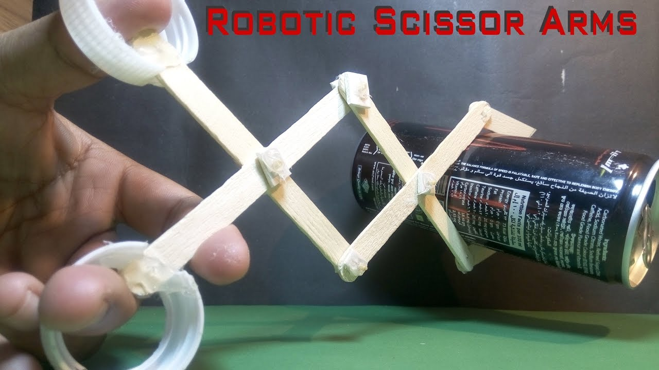 Hydraulic Arm With Popsicle Sticks : How to make a robotic scissor arms using popsicle sticks