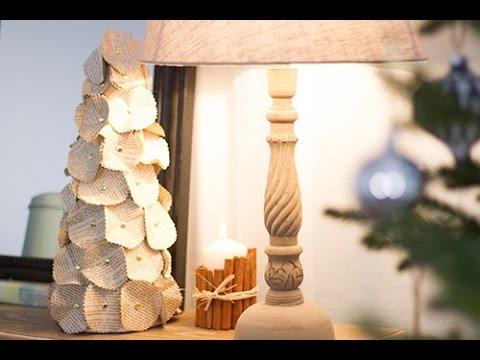 diy no l centre de table sapin en papier youtube. Black Bedroom Furniture Sets. Home Design Ideas