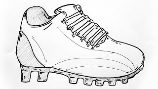 How to draw football boots | Football cleats drawing | Cleats sketch with pen | Pen drawing