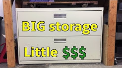 Bargain garage storage: cheap lateral file cabinet in the shop