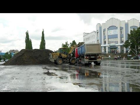 Дорожные работы в центре Шадринска