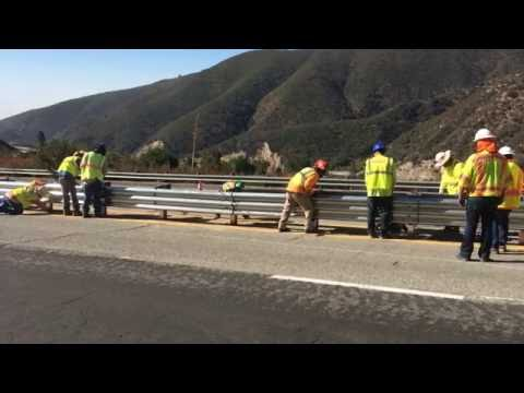 Final Post Installed on SR-18 Thrie Beam Guardrail Project