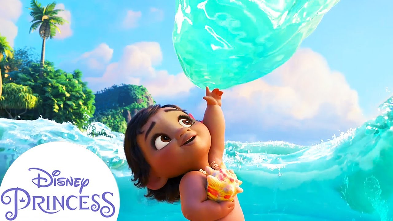 Baby Moana Meets the Ocean | Disney Princess